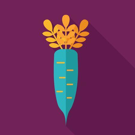 vegatables: Daikon flat icon. Vegetable root vector illustration
