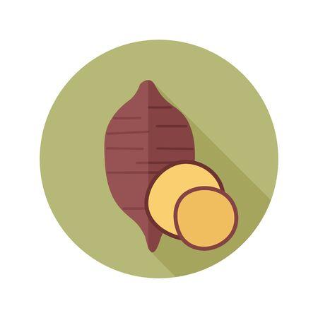 Sweet potato flat icon. Batata. Vegetable vector illustration