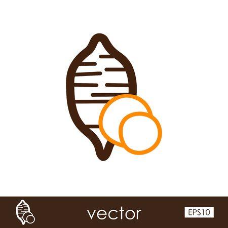 Sweet potato outline icon. Batata. Vegetable vector illustration Illustration