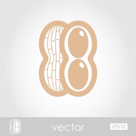 nutshell: Peanut outline icon. Vegetable vector illustration eps 10
