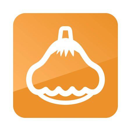 squash: Pattypan squash outline icon. Vegetable vector illustration