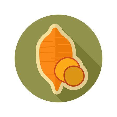 Sweet potato flat icon.