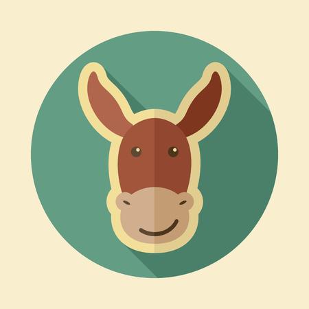 Donkey flat icon. Animal head vector illustration, eps 10