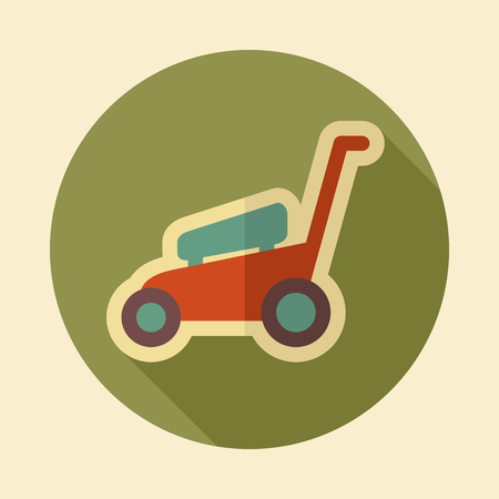 mowers: Lawn Mowers flat vector icon outline isolated, garden, eps 10