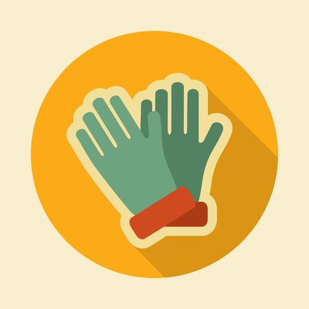 Rubber garden gloves flat vector icon. Icon rubber gloves for working in the garden. Icon household rubber gloves. Vector illustration.