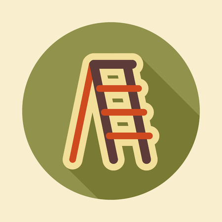 Ladder, stepladder, stair, staircase, stairway flat vector icon outline isolated, garden, eps 10