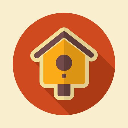Nesting box, bird-house flat vector icon outline isolated, garden, eps 10 Illustration