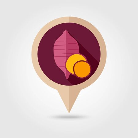 batata: Sweet potato flat vector pin map icon. Map pointer. Map markers. Batata. Vegetable vector illustration