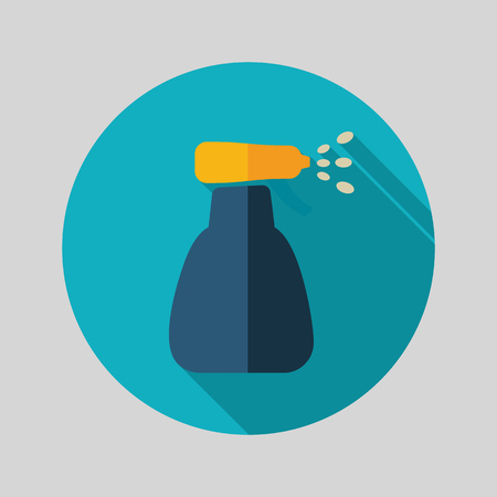 pulverizer: Icon flat of spray bottle with liquid outline isolated, garden, atomizer, pulverizer, sprayer eps 10