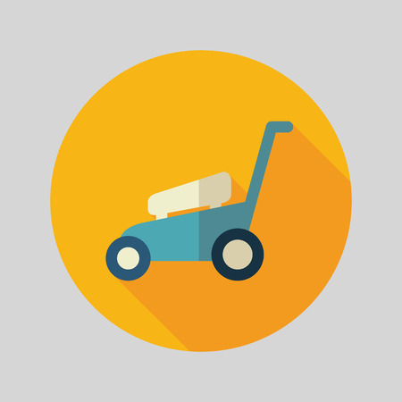 Lawn Mowers flat vector icon outline isolated, garden, eps 10