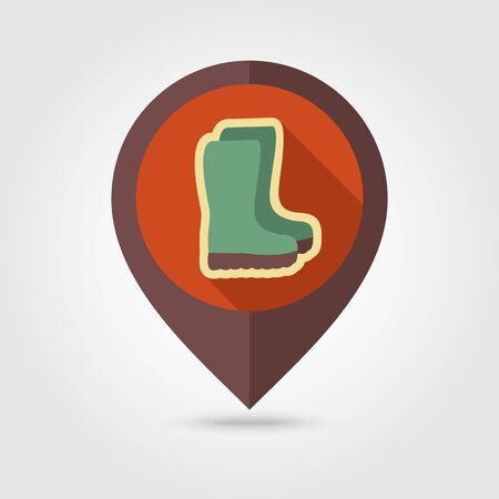 gumboots: Rubber boots, gumboots, wellies flat vector pin map icon. Map pointer. Map markers. Garden, eps 10