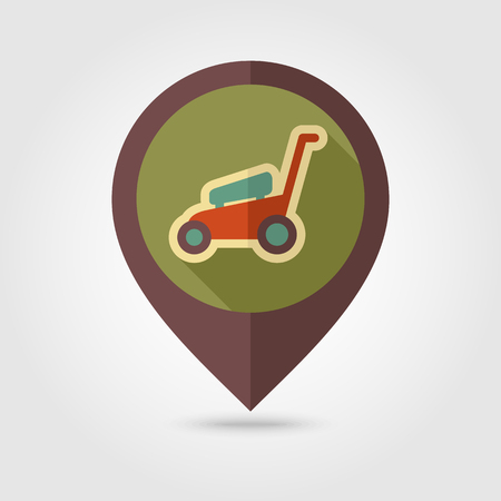 mowers: Lawn Mowers flat vector pin map icon. Map pointer. Map markers. Garden, eps 10