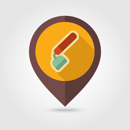 Hoe flat vector pin map icon. Map pointer. Map markers. Garden Equipment, eps 10 Illustration