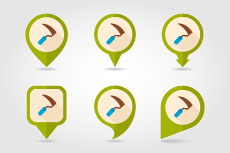 grass blades: Sickles flat vector pin map icon. Map pointer. Map markers. Garden, eps 10