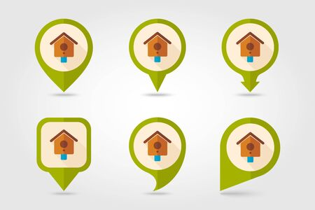 Nesting box, bird-house flat vector pin map icon. Map pointer. Map markers.