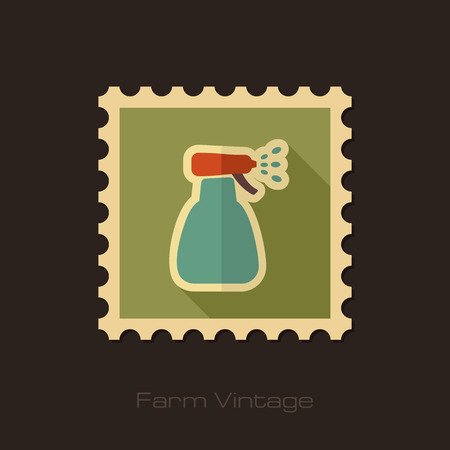 Retro flat stamp of spray bottle with liquid isolated, garden, atomizer, pulverizer, sprayer eps 10 Illustration