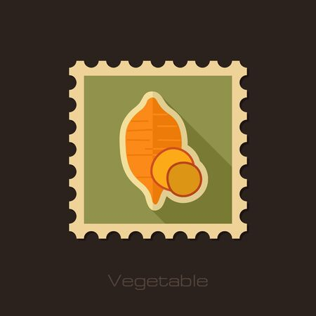 Sweet potato flat stamp. Batata. Vegetable vector illustration Illustration