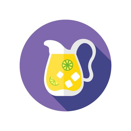 Jug of lemonade with slices of citrus and ice vector icon. Beach. Summer. Summertime. Holiday. Vacation, eps 10