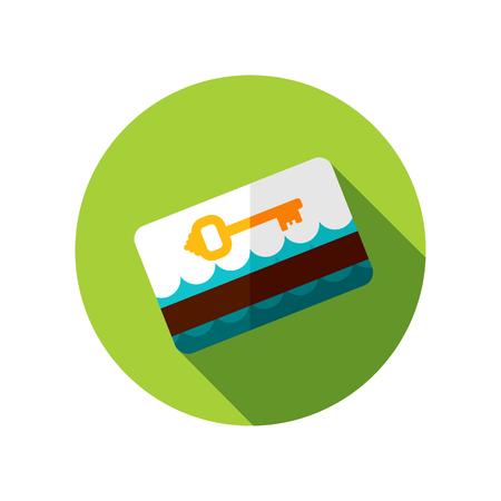 keycard: Electronic keycard vector icon. Key card. Travel. Summer. Summertime. Holiday. Vacation, eps 10 Illustration