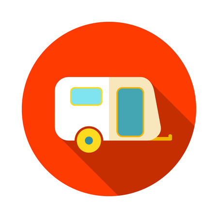 camper: Camping trailer vector icon. Beach. Summer. Summertime. Holiday. Vacation, eps 10