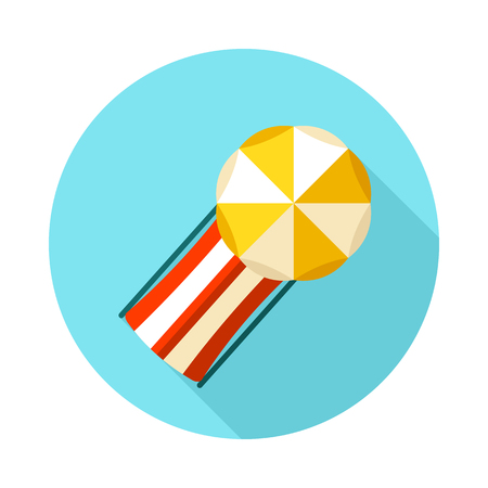 Beach chaise lounge with umbrella vector icon. Summer. Summertime. Holiday. Vacation, eps 10
