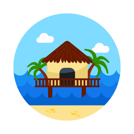 Bungalow with palm trees vector icon. Beach. Summer. Summertime. Holiday. Vacation, eps 10 Stock Vector - 74487392
