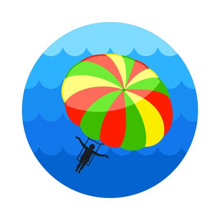 Parasailing. Summer kiting activity vector icon. Beach. Summer. Summertime. Holiday. Vacation, eps 10
