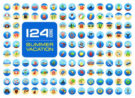 Summer vector icon set. Beach. Travel. Summertime. Vacation, eps 10 Illustration