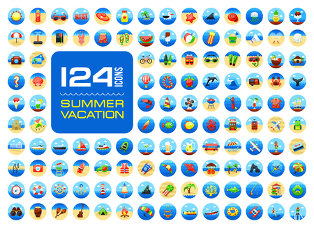 Summer vector icon set. Beach. Travel. Summertime. Vacation, eps 10 Иллюстрация