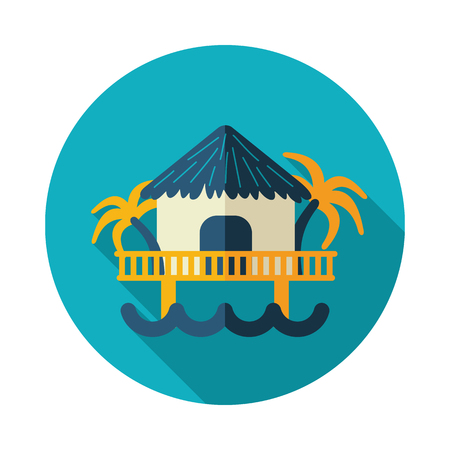 Bungalow with palm trees vector icon. Beach. Summer. Summertime. Holiday. Vacation Ilustrace