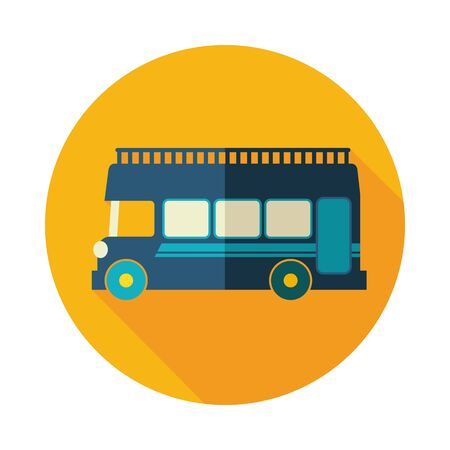 Double decker open top sightseeing and city bus vector icon. Summer. Summertime. Holiday. Vacation, Illustration