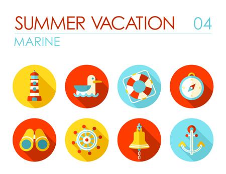 Marine flat icon vector set. Travel illustration