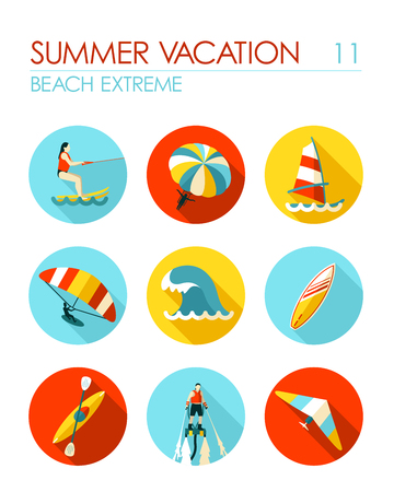 water skiing: Extreme Water Sport beach vector flat icon set. Summer time. Vacation Illustration