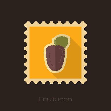 dewberry: Blackberry bramble flat stamp. Berry fruit vector illustration, eps 10