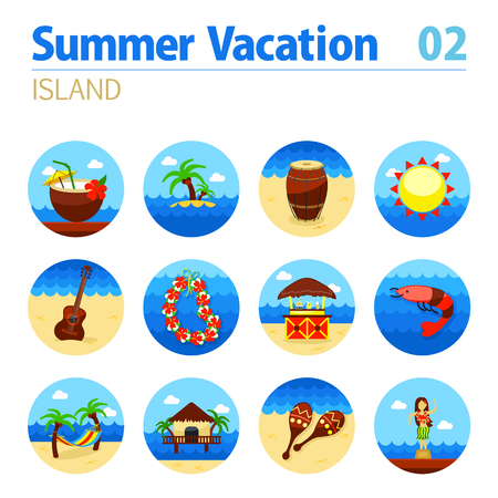 palm wreath: Island beach vector icon set. Summer time. Vacation Illustration