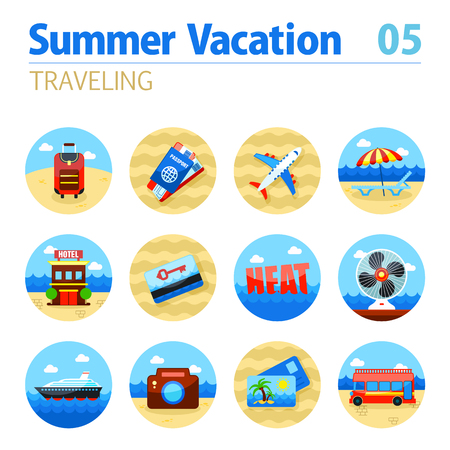 keycard: Traveling vector icon set. Summer time. Vacation