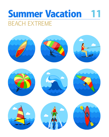 kite surf: Extreme Water Sport beach vector icon set. Summer time. Vacation