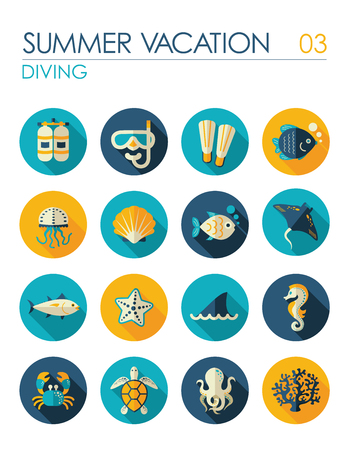 Diving vector flat icon set. Summer time. Vacation