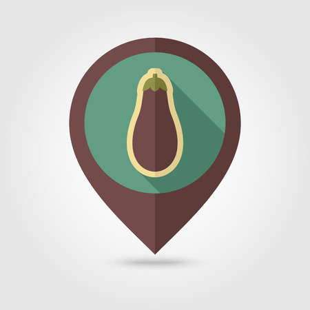 petiole: Eggplant flat vector pin map icon. Map pointer. Map markers. Vegetable vector illustration eps 10