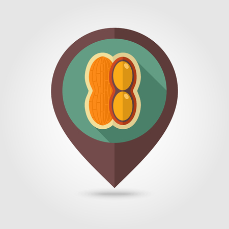 nutshell: Peanut flat vector pin map icon. Map pointer. Map markers. Vegetable vector illustration eps 10