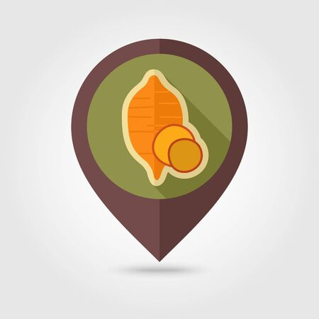 Sweet potato flat vector pin map icon. Map pointer. Map markers. Batata. Vegetable vector illustration