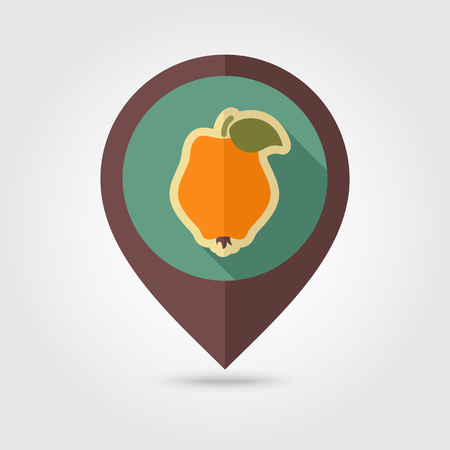 Quince flat vector pin map icon. Map pointer. Map markers. Tropical fruit. Vector illustration, eps 10 Illustration