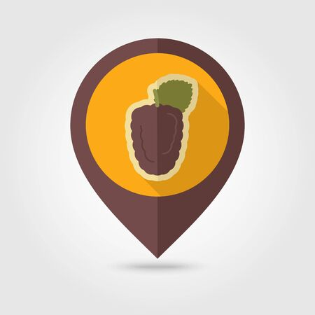 dewberry: Blackberry bramble flat vector pin map icon. Map pointer. Map markers. Berry fruit. Vector illustration, eps 10