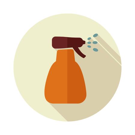 Icon flat of spray bottle with liquid outline isolated, garden, atomizer, pulverizer, sprayer eps 10