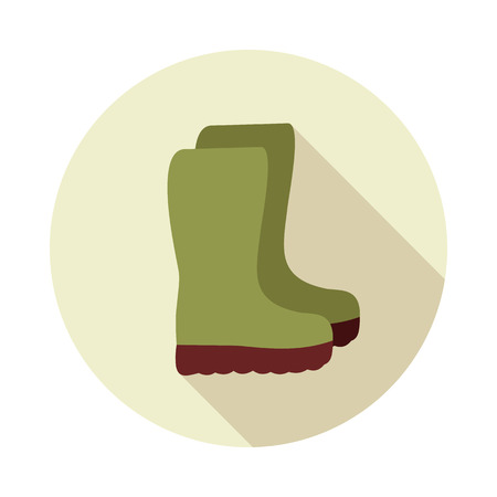 Rubber boots, gumboots, wellies flat vector icon outline isolated, garden, eps 10 Illustration