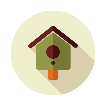 Nesting box, bird-house flat vector icon outline isolated, garden, eps 10 Illustration