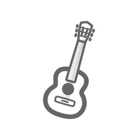 Guitar Beach outline vector icon. Beach. Summer. Summertime. Vacation, eps 10 Illustration