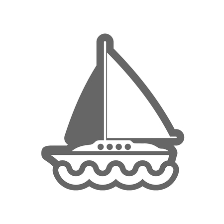 motorboat: Boat with a Sail outline vector icon. Beach. Summer. Summertime. Vacation, eps 10