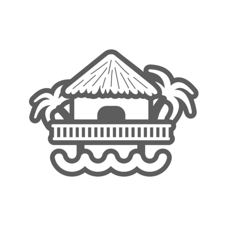 Bungalow with palm trees outline vector icon. Beach. Summer. Summertime. Holiday. Vacation, eps 10