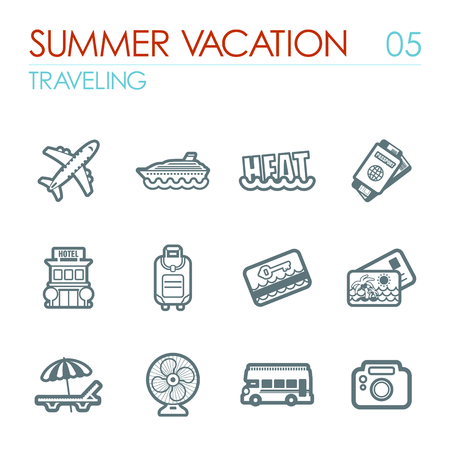 keycard: Traveling outline vector icon set. Summer time. Vacation, eps 10 Illustration